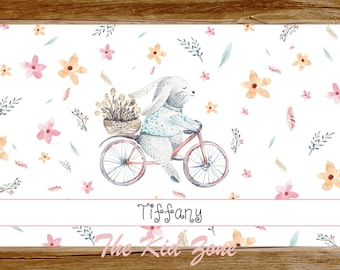 Personalized Placemat Bunny on Bicycle