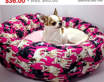 Pink French Bulldog Frenchie Round Pet Bed – Group One Dog Gallery® Nesting Handcrafted Orthopedic Dog Cat Pet Supplies