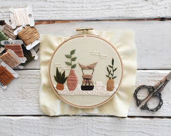 Coffee Shelf Embroidery // Plant Shelf Embroidery // Plant and Coffee Embroidery Hoop // Chemex Embroidery // Interiors Embroidery Hoop