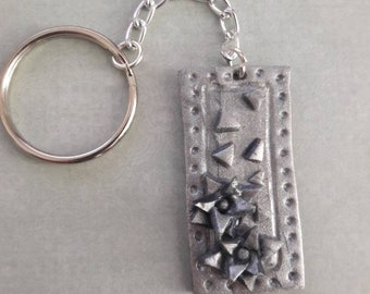 Rectangle flower key chain