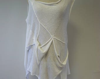 Summer asymmetrical white linen blouse, XL size.