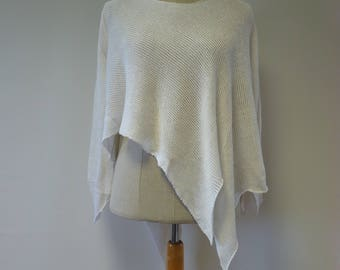 The hot price. Asymmetrical white linen sweater, L size.