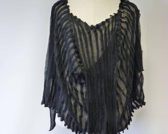 Boho transparent black linen blouse, L size.