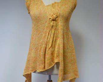 The hot price. asymmetrical linen top, L size.