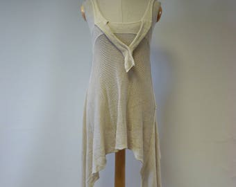 The hot price. Asymmetrical knitwear vanilla bamboo tunic, M size.