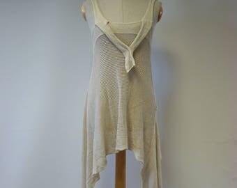 The hot price. Asymmetrical knitwear vanilla bamboo tunic, M size.