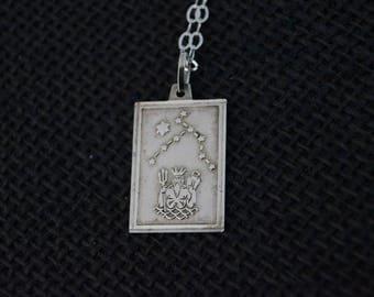 Vintage Sterling Silver Neptune Ingot Necklace - Vintage Necklace - Vintage Silver Neptune Pendant - King Neptune Vintage Silver Necklace