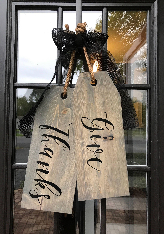 Large Wood Door Tags Door Hanger Give Thanks Hand