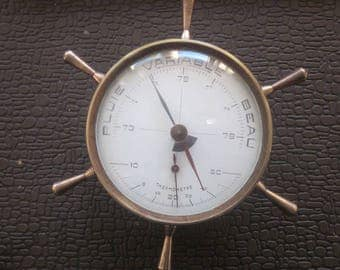 Vintage Airguide Brass Ship's Wheel Nautical Weather Station Desktop Thermometer And Barometer station météo