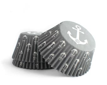 Nautical Gray Cupcake Liners // Anchor Baking Cups // Anchor Cupcake Liners (Qty 50)