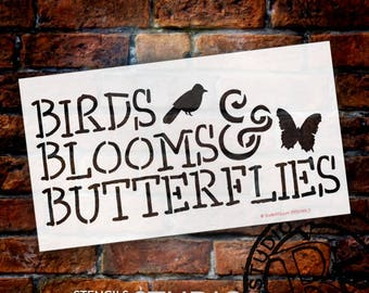 Birds Blooms and Butterflies Word Stencil - SELECT SIZE - STCL1069 - by StudioR12