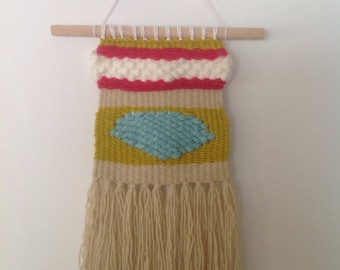 Handmade Woven Wall Hanging Pink, Green, Aqua, Tan, on a Wood Dowel OOAK Ready to Ship