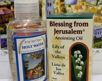 Jerusalem pure anointing oil Spikenard,Lily of the Valleys Holyland gift 10ml,0.34oz and Holy water from Jordan river 50 ml,1.60oz