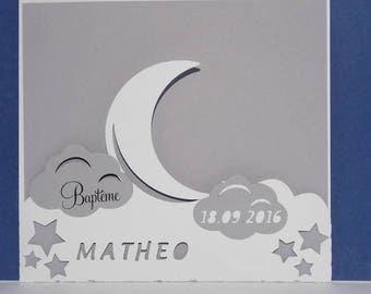 Moon and cloud portfolio birth announcement
