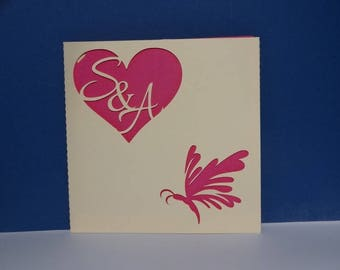 Share marriage Pocket heart Butterfly initial