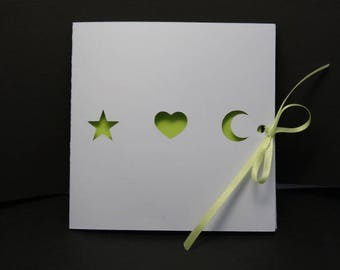 Birth - themed pouch Moon heart star announcements