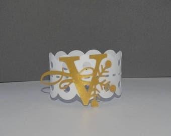 Golden initial Christmas napkin ring