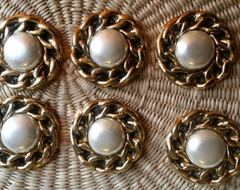 6 golden chains Pearl cabochons