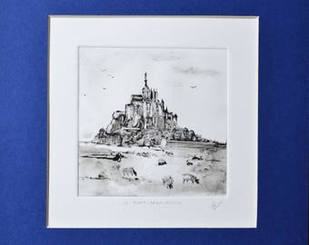 Black white landscape drawing ink original sketch  work makes single hand engraving Monotype Mont-Saint-Michel Normandy France gift idea