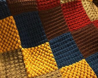 Crochet Color Block Throw