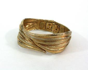 Vintage clamper bracelet hinged bracelet brushed gold bangles leaf jewelry Marcelle Originals
