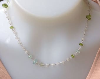 Wire Wraoped Moonstone Necklace, Peridot Necklace, Aquamarine Necklace, 17 inches, Sterling Silver, Genuine Gemstones, Natural Gemstones