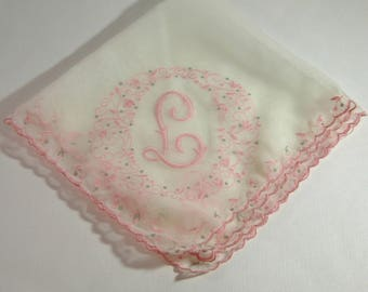Vintage Hankie, Machine Embroidered In Pink, Letter L in Corners