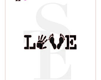 LOVE Baby Hand and Feet Stencil