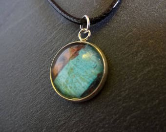 Retro blue and Brown pendant necklace