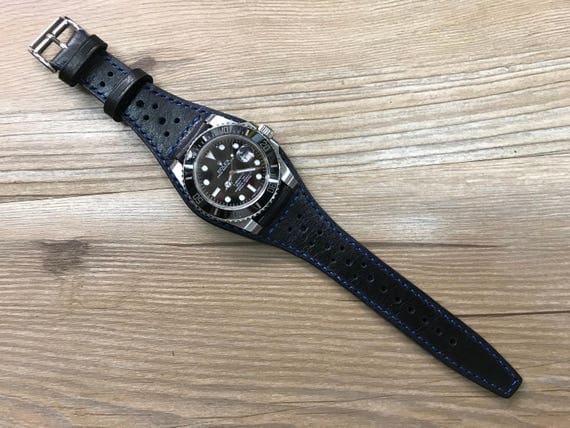Full Bund Strap, Leather Watch Band, Leather Cuff watch band, Pure Black Brogue Pattern Leather Cuff watch band 20mm lug Rolex