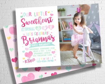Valentine Birthday Invitation | Sweetheart Birthday Invitation | Heart Birthday Invitation | Our Little Sweetheart | DIGITAL FILE ONLY