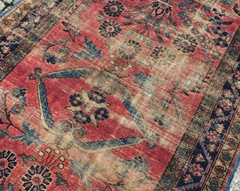 "3'9""x6'6"" Antique Persian Sarouk Rug"