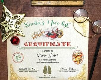 santa's nice list certificate, printed personalized Nice list certificate from Santa Claus, Official north pole nice list certificate, gifts