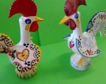 Two Hand Painted Ceramic Roosters -- made in Portugal -- FREE Shipping