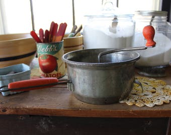 Vintage Sifter, Flour Sifter, Foley Food Mill, Metal Sifter with Red Handle, Hand Cranked Sifter, Farmhouse Kitchen