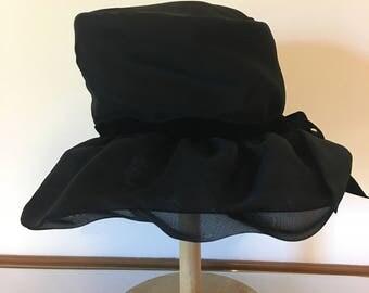 Vintage Women's Black 1940's Black Floppy Brim Hat