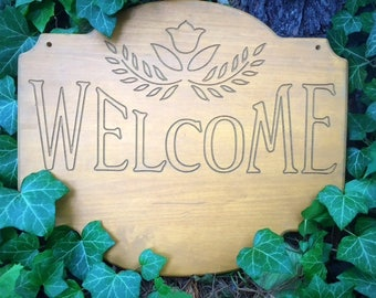 Natural Wood Engraved Hanging Double Sided Welcome Sign