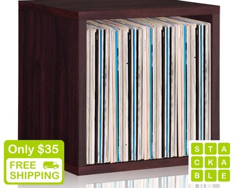 Vinyl Record Storage Cube - Stackable LP Record Album Storage Shelf Espresso - Fits 70 records - Lifetime Warranty - FREE SHIP (bs-scube-eo)