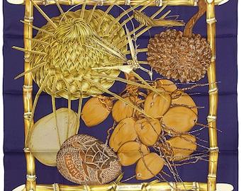 "HERMES SCARF Silk ""Jardin Creole"" by Valerie Dawlat Dumoulin Vintage 90cm Carre 100% Auth"