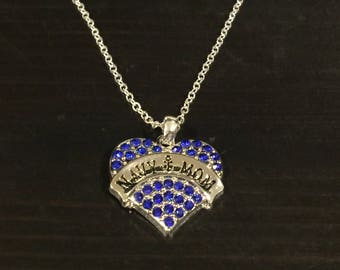 Navy Mom Rhinestone Heart Necklace with Chain