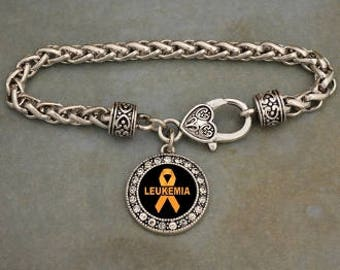 Leukemia Awareness Ribbon Rhinestone Charm Bracelet