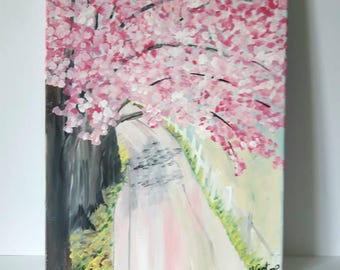 Pink Blossomed Path Painting on canvas, Flower Art on Canvas