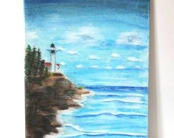 Landscape painting on canvas, Pastel art, Home decor, Lighthouse scenic art.