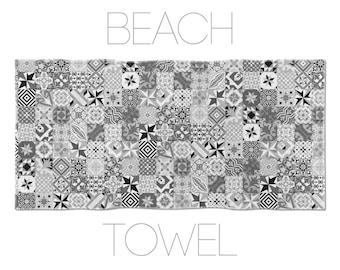 Mosaic Towel, Ceramic Tile Designs, Modernist Towel, Hotel Towels, Gym Towel, Barcelona Tiles, Barcelona Towel, Beach Accessories