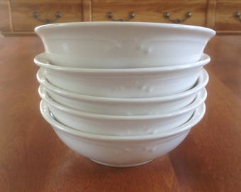 "Five (5) Pfaltzgraff FILIGREE All White 6"" Soup / Cereal Bowls"