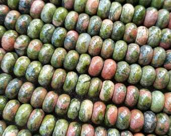 "Natural Gemstone Unakite 8mm x 5mm Rondelle Abacus Beads - 15.7"" Strand"