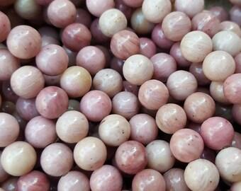 """Natural Rhodonite 6mm Round Beads, 15.5"""" Strand"""