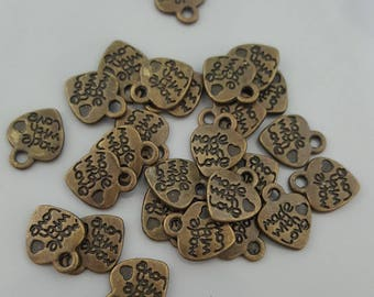 25 Pcs Made With Love (on both sides), Antique Brass/Bronze Charms, 12x10mm, Loop 1.5mm