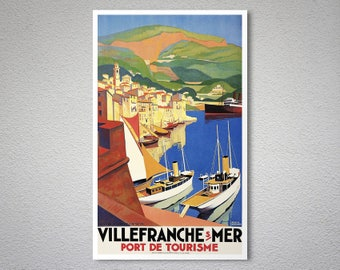 Villefranche Vintage Travel Poster - Poster Paper, Sticker or Canvas Print / Christmas Gift