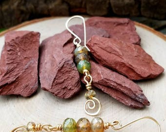NEW, Earrings, Wire Wrapped, 14k Gold Filled, Faceted Rondelles, Czech Glass Beads, Earthy, Wrapped In Enchantment, Dangle, OOAK, Unique
